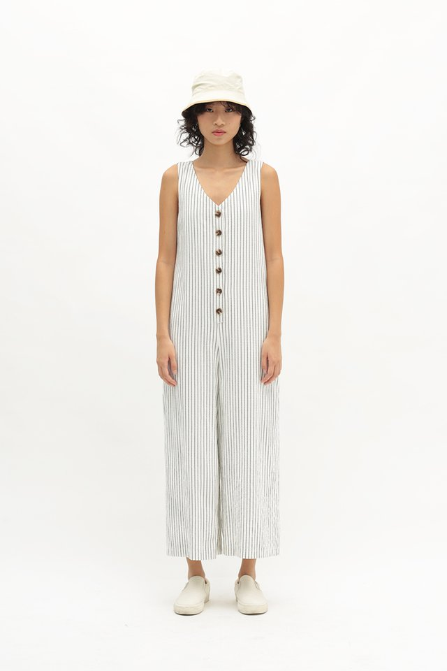KAILANI STRIPED BUTTON JUMPSUIT IN WHITE