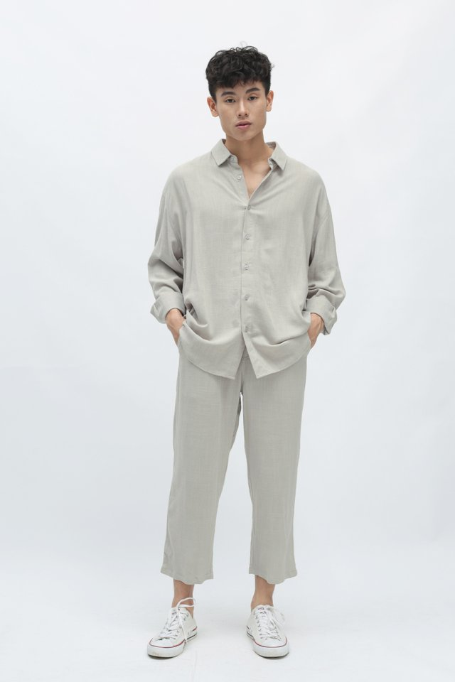 REMY OVERSIZED LINEN SHIRT IN GREY