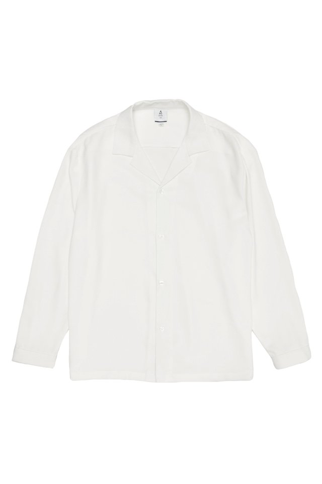 TAE LONG SLEEVE CAMP COLLAR SHIRT IN WHITE