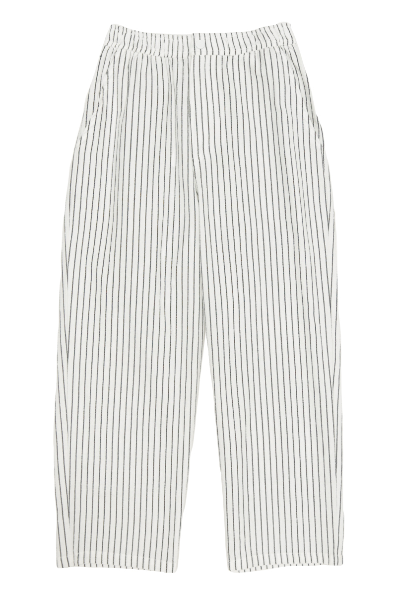CAIRO DRAWSTRING STRIPED TROUSERS IN WHITE