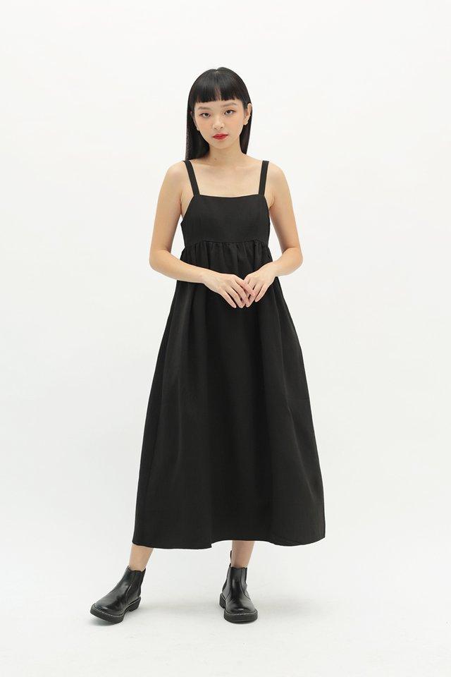 BRIELLE TEXTURED DRESS IN BLACK