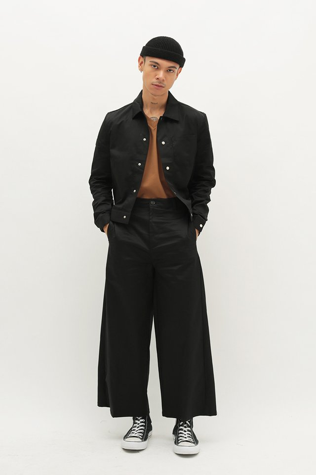 BAILEY CROPPED TWILL SHIRT JACKET IN BLACK