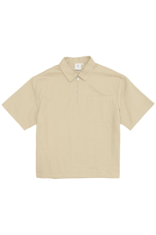 CURTIS ZIP POLO SHIRT IN SAND