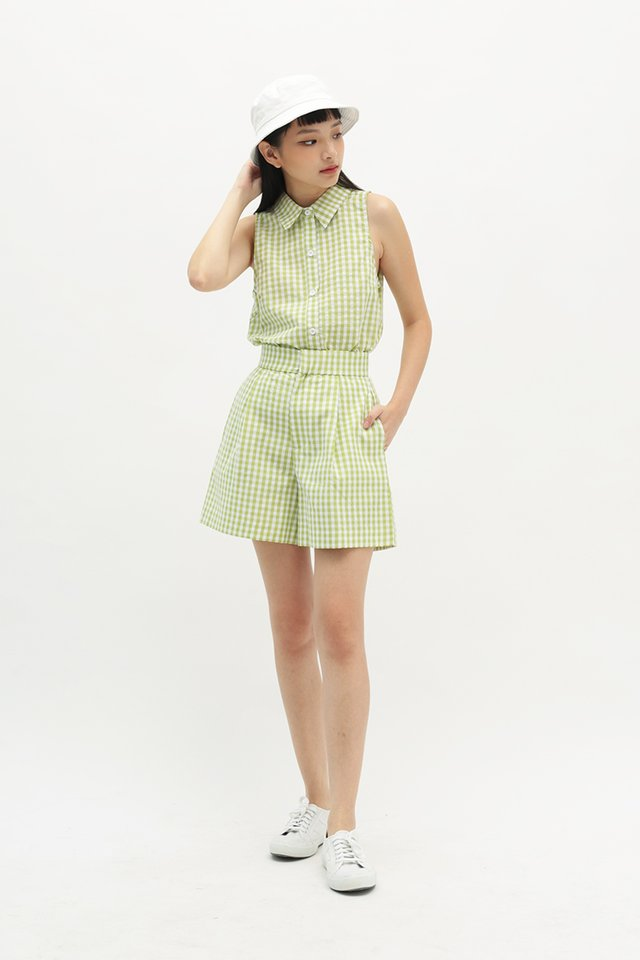 DANNI GINGHAM BUTTON BLOUSE IN APPLE GREEN