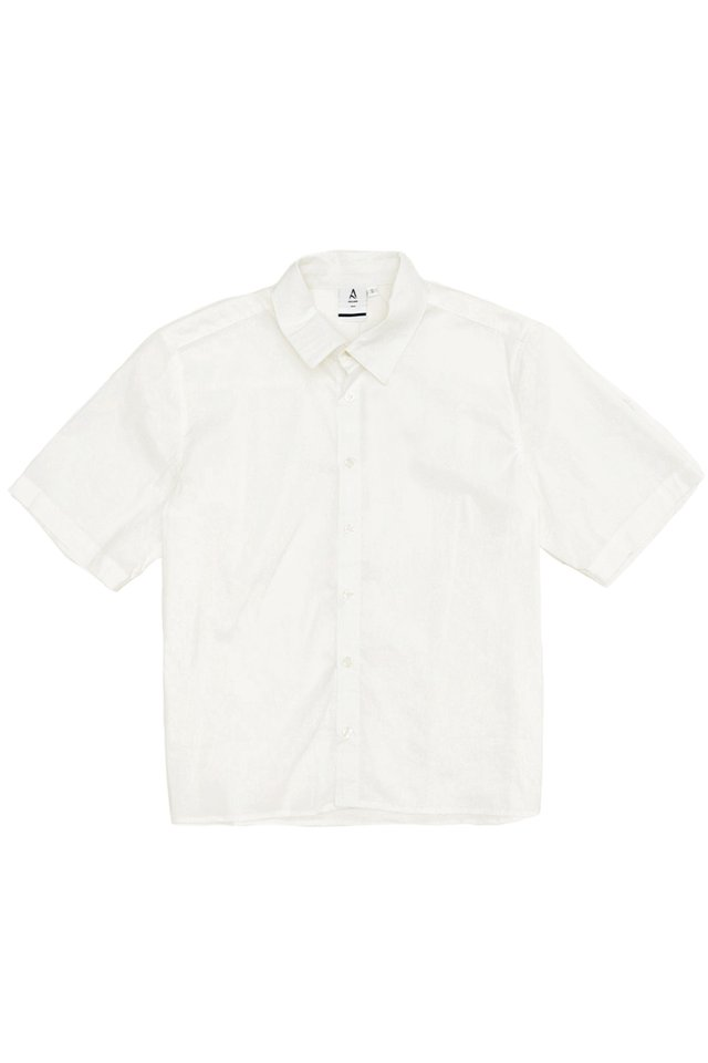 EMIL SHORT SLEEVE CROPPED SHIRT IN WHITE