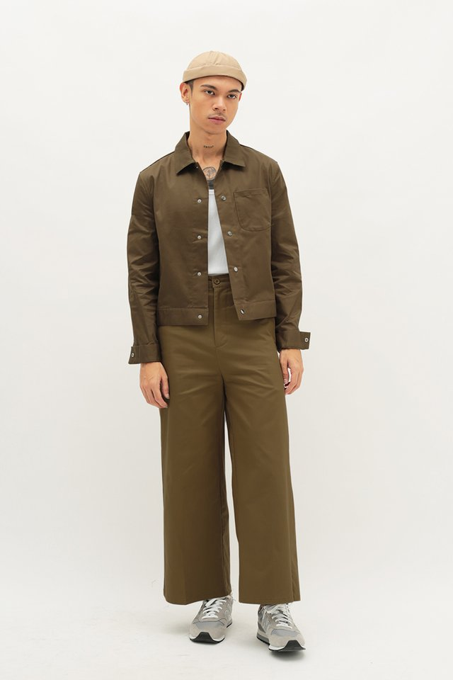 HOLSTON WIDE-FIT TWILL TROUSERS IN UMBER