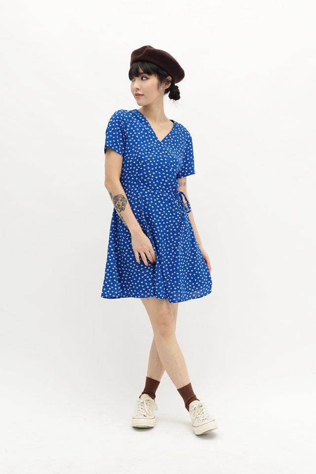 KIT FLORAL SWING DRESS IN MOROCCAN BLUE