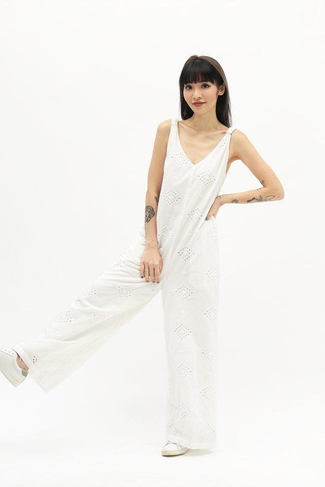 KLARISS EYELET JUMPSUIT IN WHITE
