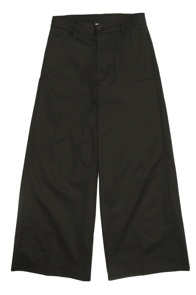 HOLSTON WIDE-FIT TWILL TROUSERS IN BLACK