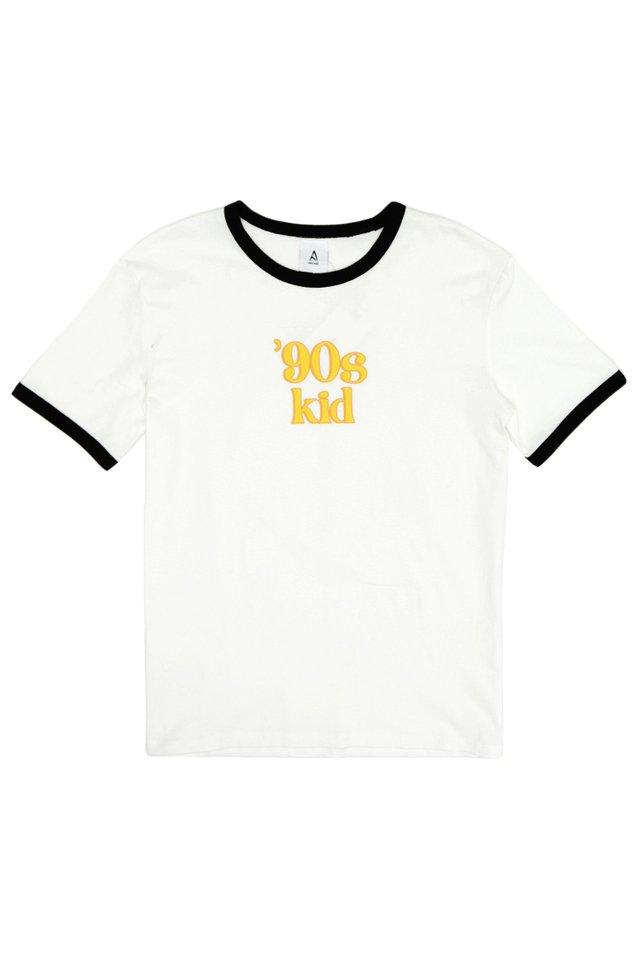 """""""90S KID"""" RINGER TEE IN WHITE/BLACK"""