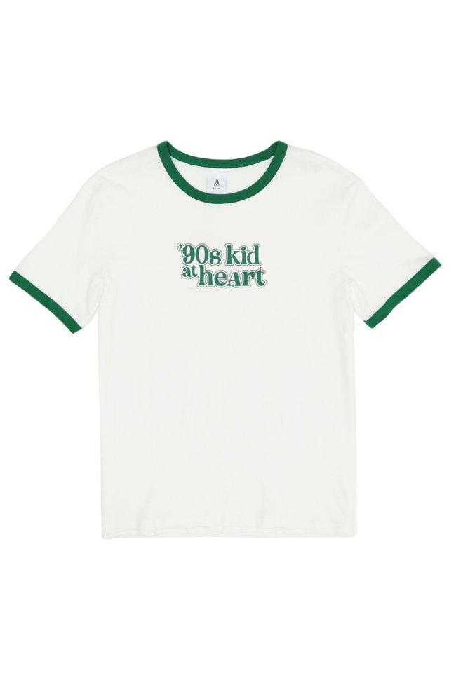 """""""90S KID AT HEART"""" RINGER TEE IN WHITE/GREEN"""