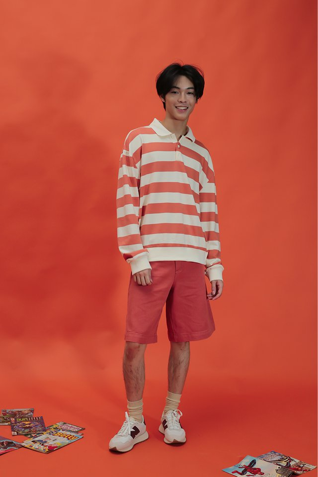MICAH WIDE-FIT TWILL SHORTS IN GRAPEFRUIT