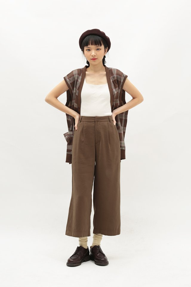 WHITLEY PLEATED CULOTTES IN CAPPUCCINO
