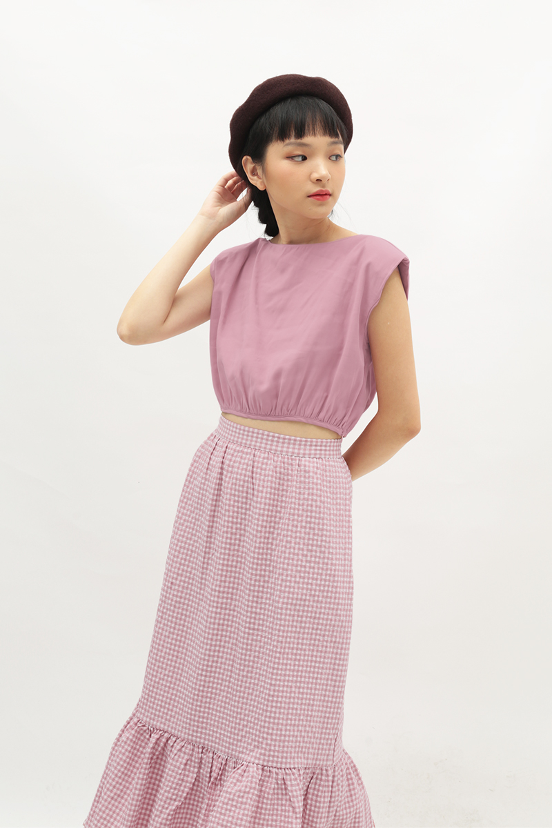 LIV RUCHED TOP IN CANDY PINK
