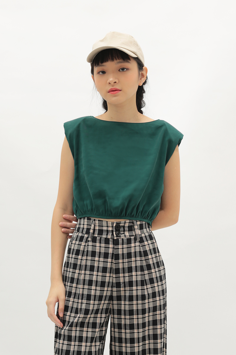 LIV RUCHED TOP IN FOREST