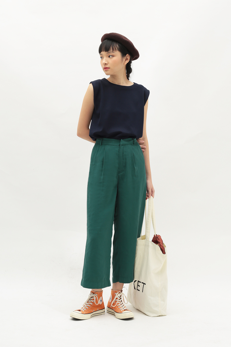 WHITLEY PLEATED CULOTTES IN FOREST